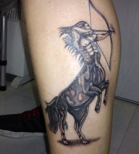 Awesome sagittarius leg tattoo