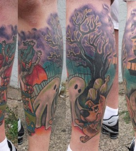 Awesome scooby doo leg tattoo
