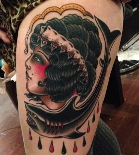 Awesome shark and woman tattoo by Nick Oaks