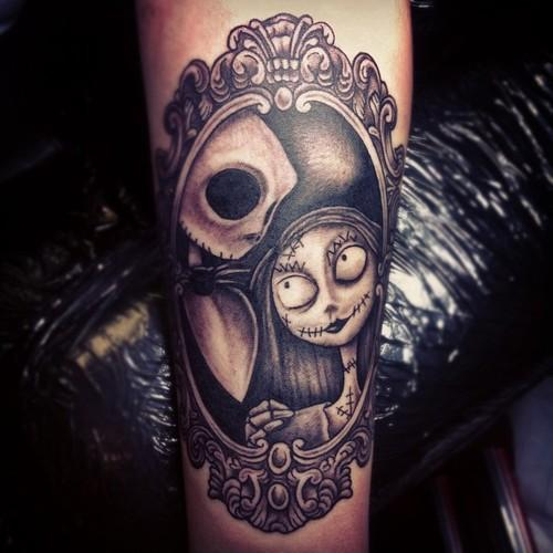 Awesome skeleton in a suit frame tattoo