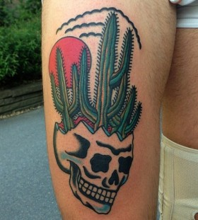 Awesome skull and cactus tattoo
