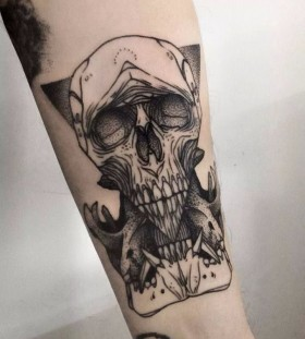 Awesome skull tattoo by Michele Zingales