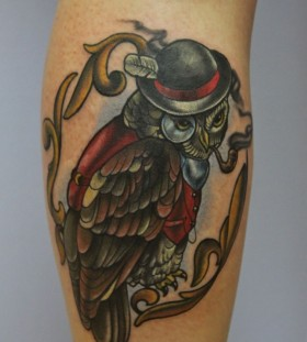 Awesome smoking owl tattoo by Eva Huber