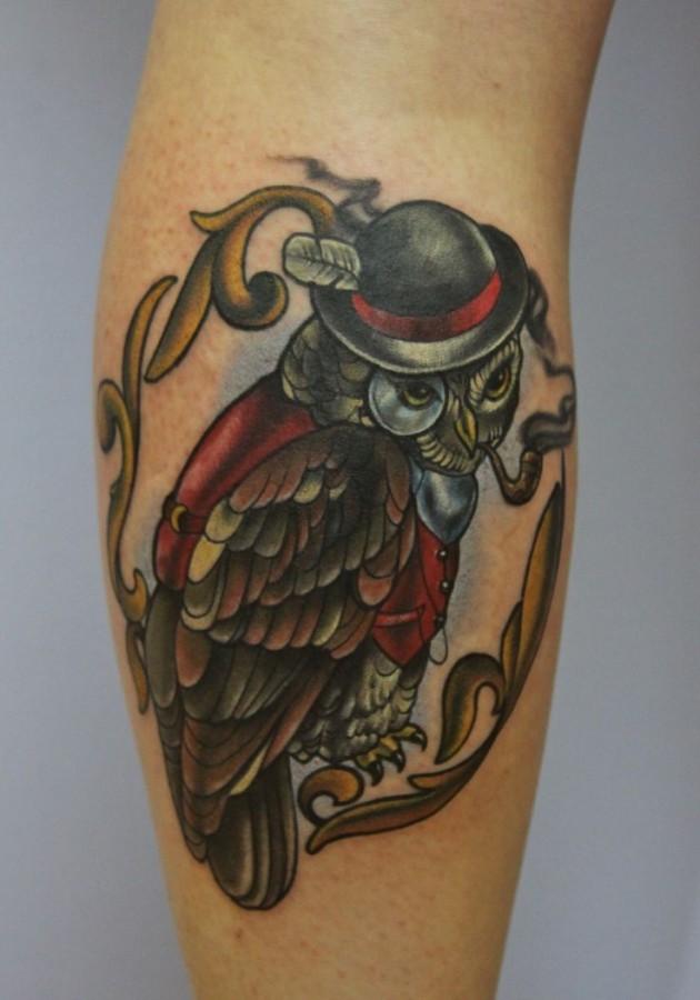 Awesome smoking owl tattoo by Eva Huber