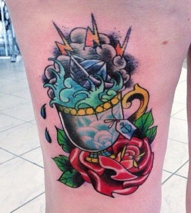Awesome teacup leg tattoo