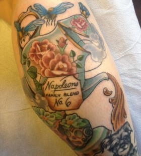 Awesome teapot and writing tattoo