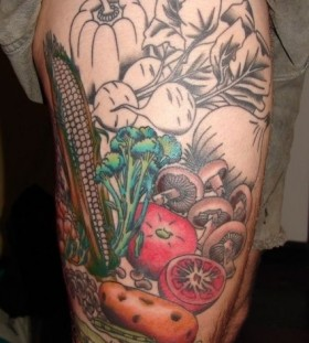 Awesome vegetables food tattoo