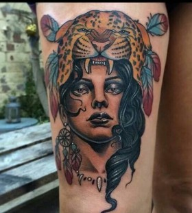 Awesome woman tattoo by Jon Mesa