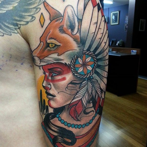 Awesome woman with fox head tattoo by Drew Shallis