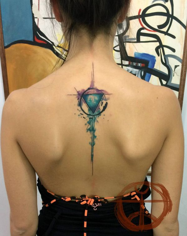 Back watercolor tattoo