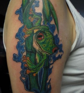 Bamboo and frog tattoo