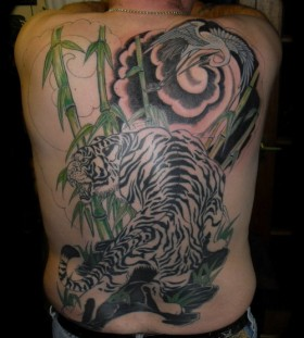 Bamboo and tiger tattoo