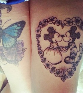 Beautiful Minnie and Mickey tattoo