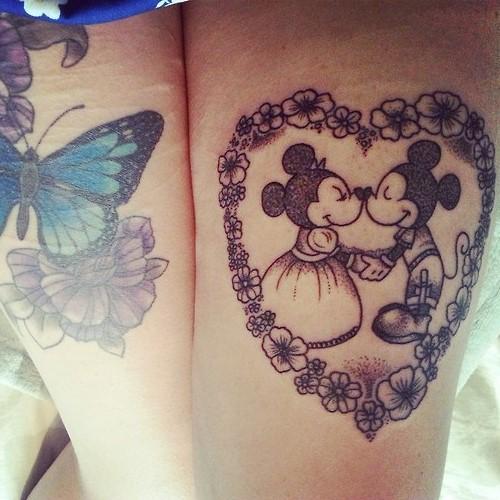 Beautiful Minnie and Mickey tattoo