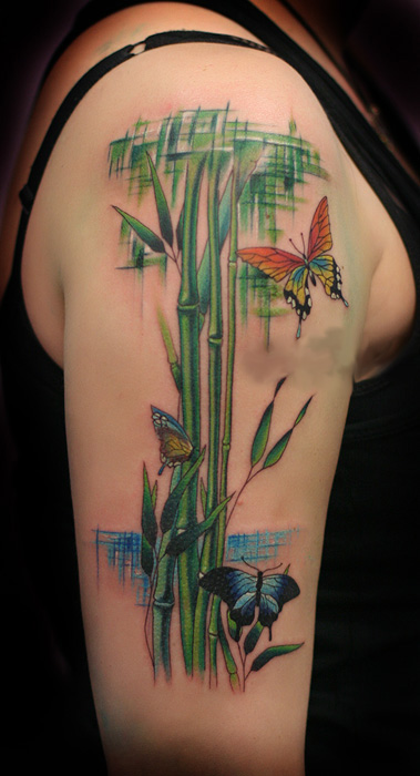 Beautiful bamboo and butterfly tattoo