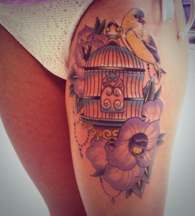 Beautiful birdcage leg tattoo