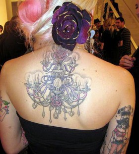 Beautiful chandelier back tattoo