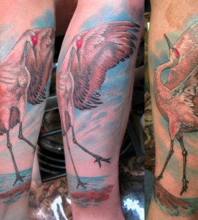 Beautiful crane leg tattoo