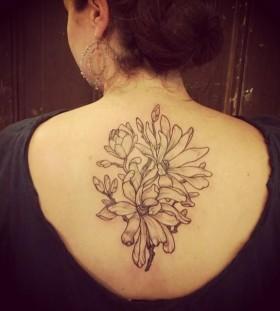 Beautiful flowers back tattoo by Rachel Hauer