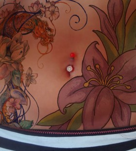 Beautiful flowers stomach tattoo