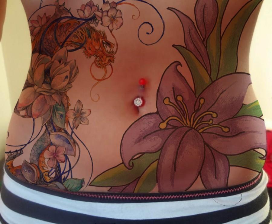 Beautiful flowers stomach tattoo