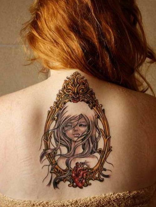 Beautiful girl frame back tattoo