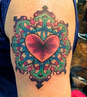 Beautiful heart tattoo by Amanda Leadman