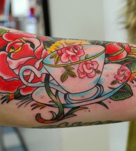 Beautiful teacup and rose tattoo