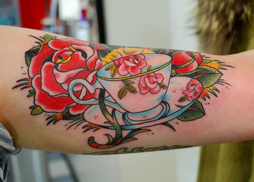Beautiful teacup and rose tattoo