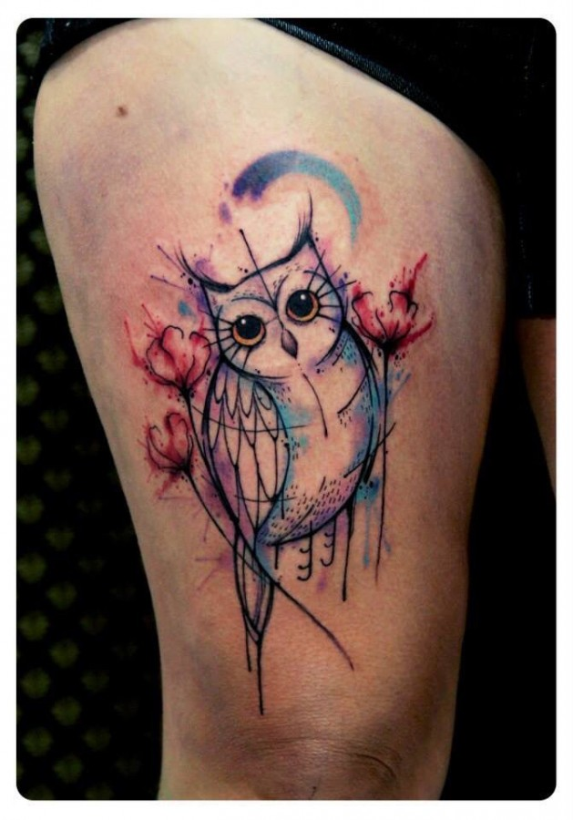Beautiful watercolour owl tattoo by Tyago Compiani