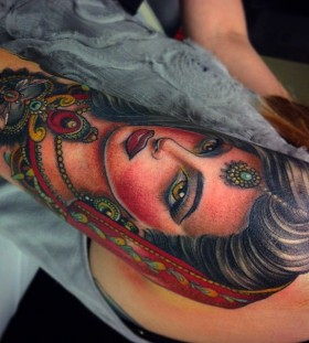 Beautiful woman tattoo by Flo Nuttall