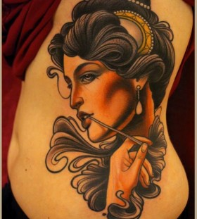 Beautiful woman tattoo by Lars Uwe Jensen