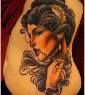 Beautiful woman tattoo by Lars Uwe Jensen