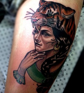 Beautiful woman with tiger's head tattoo by Drew Shallis