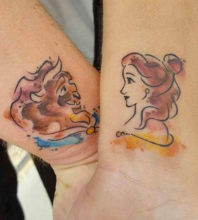 Beauty and the Beast wrist couple tattoo