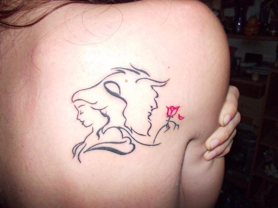 Beauty and the beast back tattoo