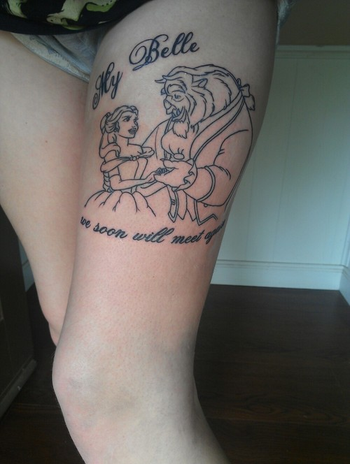 Beauty and the beast leg tattoo