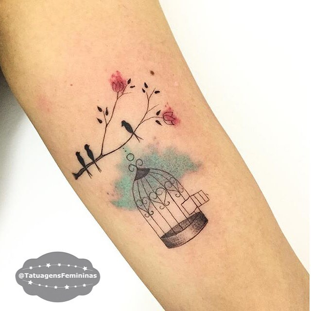 bird and bird cage tattoo by carlagalvaotattoo