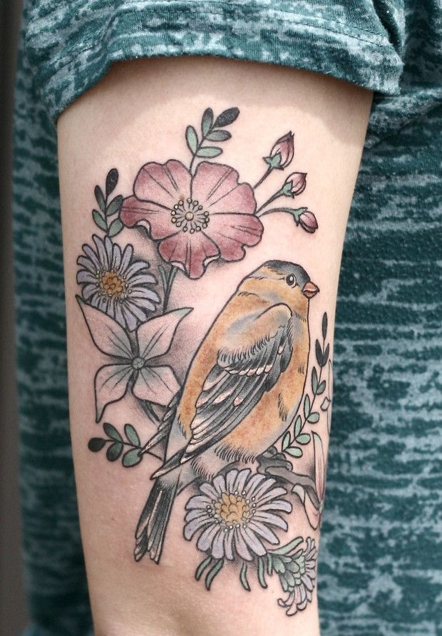 Bird and flowers tattoo by Kirsten Holliday