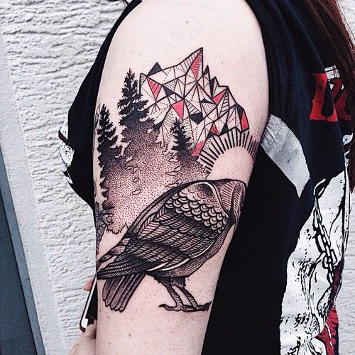 Bird and geometrical figures tattoo
