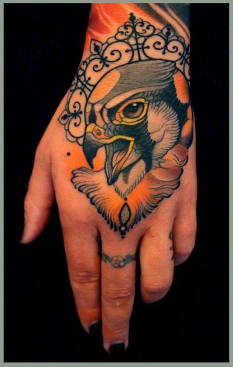 Bird hand tattoo by Lars Uwe Jensen