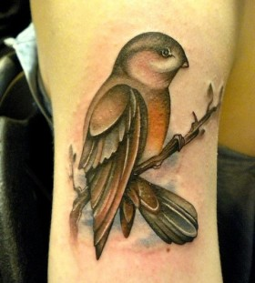 Bird on a branch tattoo by Amanda Leadman