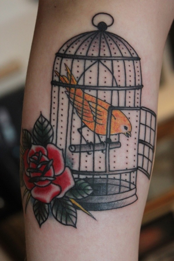 Birdcage and rose tattoo