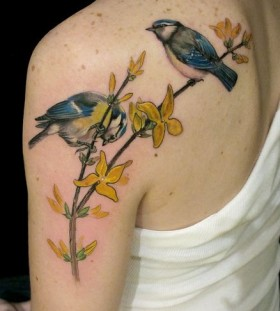 Birds on a branch tattoo by Esther Garcia