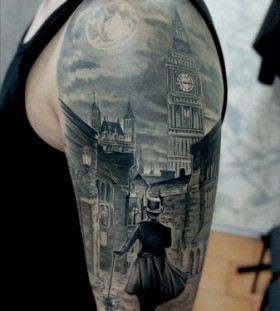 Black London town tattoo
