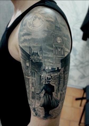Black London town tattoo