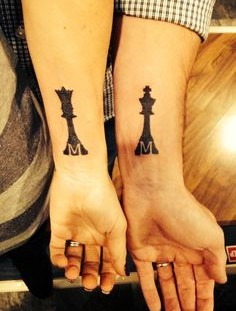 Black adorable chess tattoo