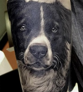 Black adorable dog's tattoo