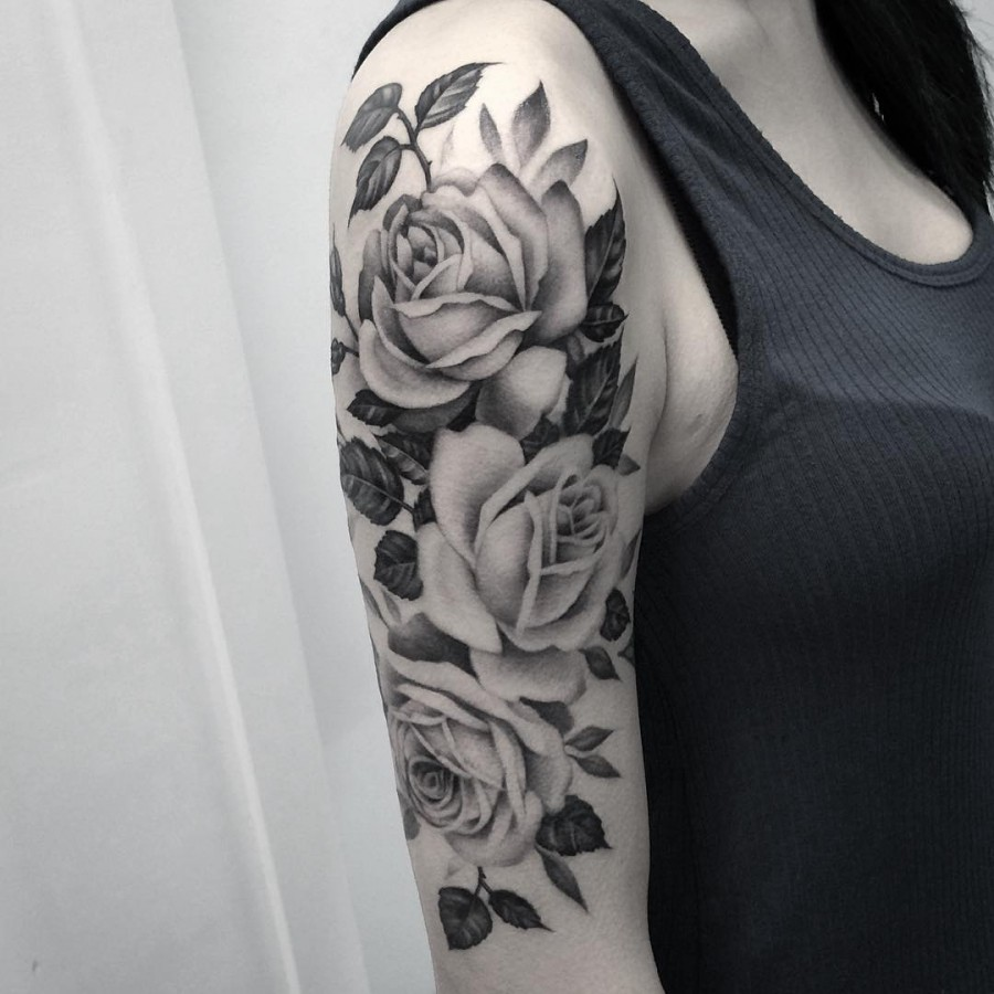 black-and-grey-rose-tattoo-by-elisabeth-markov