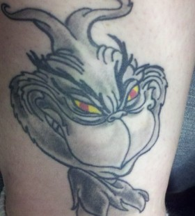 Black and white grinch christmas tattoo